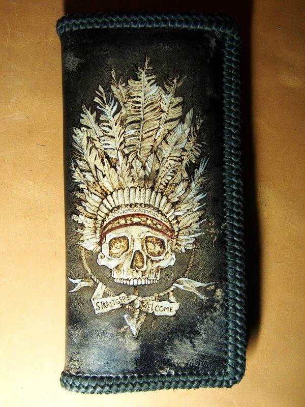 кожаный кошелек индеец фото