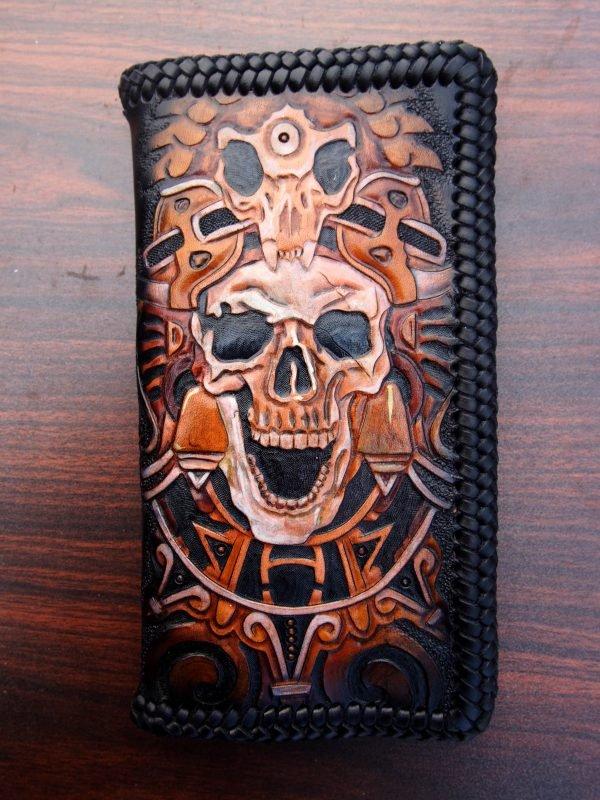 кожаный кошелек индеец майя фото