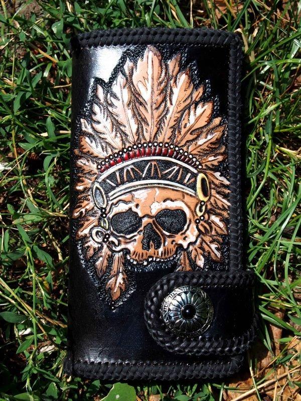 кожаный кошелек с индейцем фото