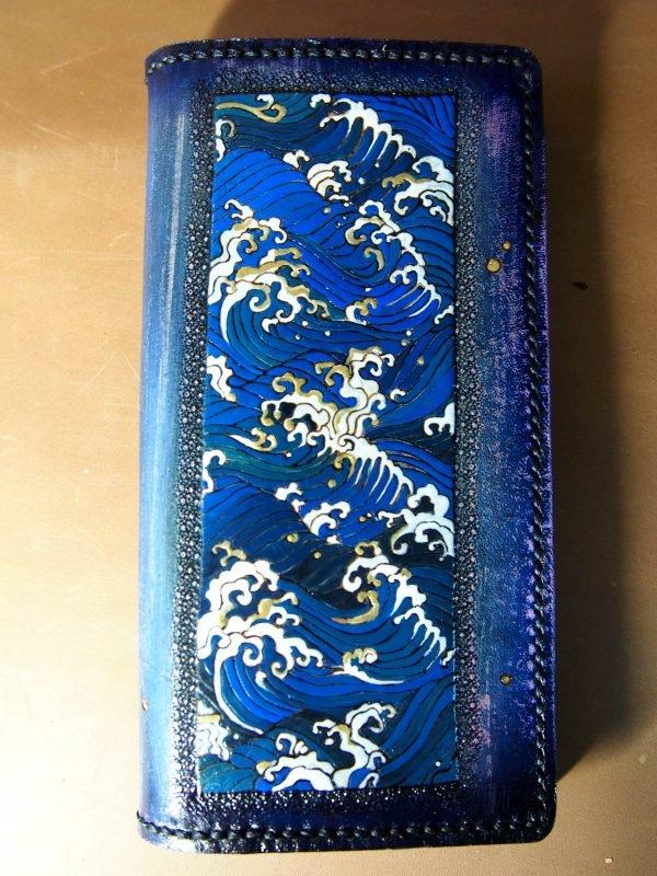 кожаный кошелек с волной фото 2