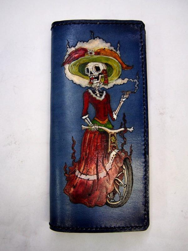 кожаный кошелек девушка-скелет фото 4