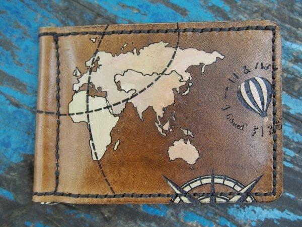 Кожаный зажим Карта