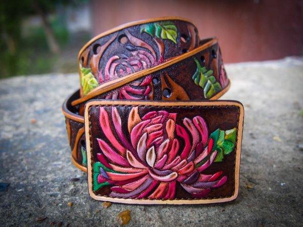 кожаный зажим хризантемы фото