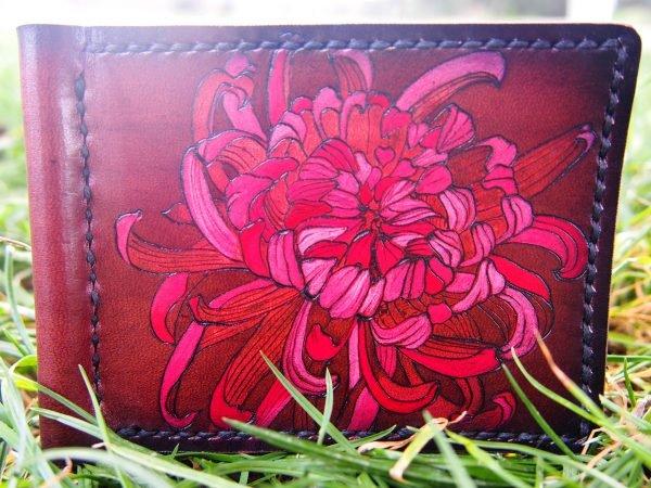 Кожаный зажим Цветок 5