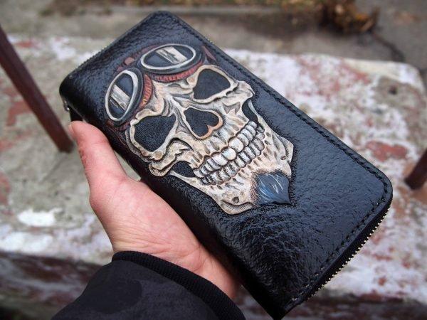 байкерский кошелек на молнии фото