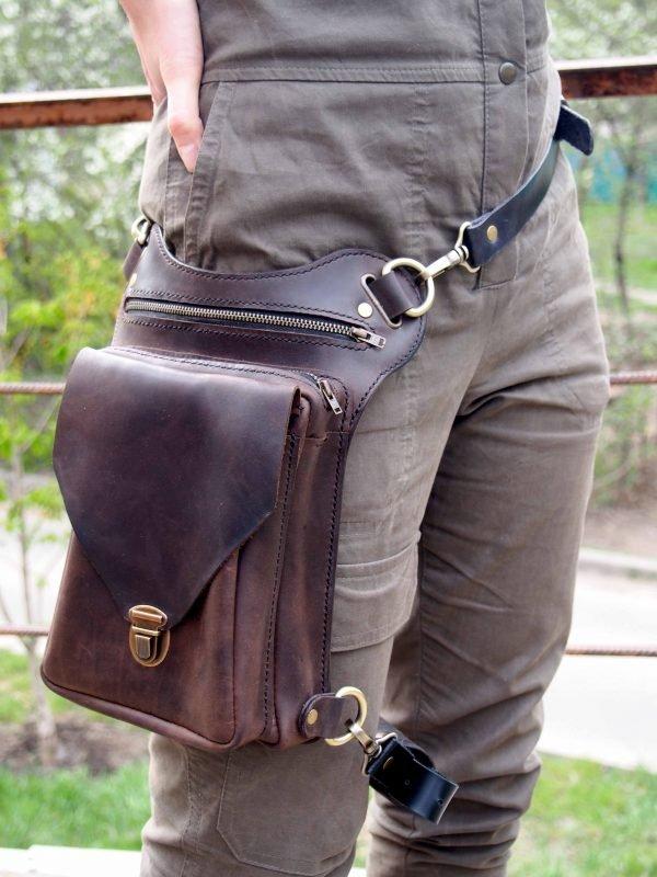 байкерская кожаная сумка фото 8