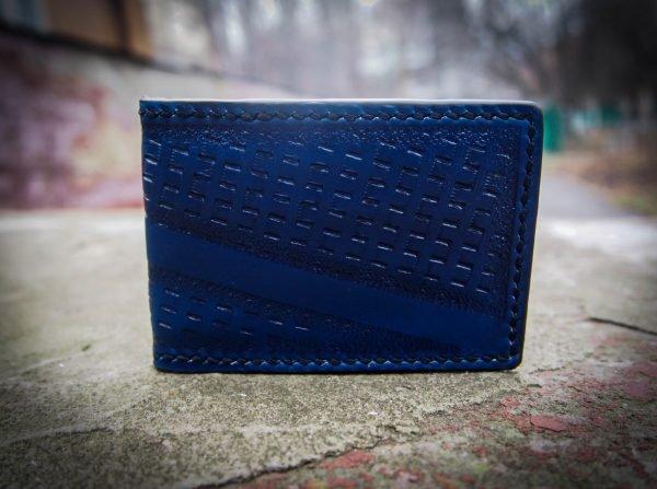 Кожаная обложка на id паспорт Синяя 1