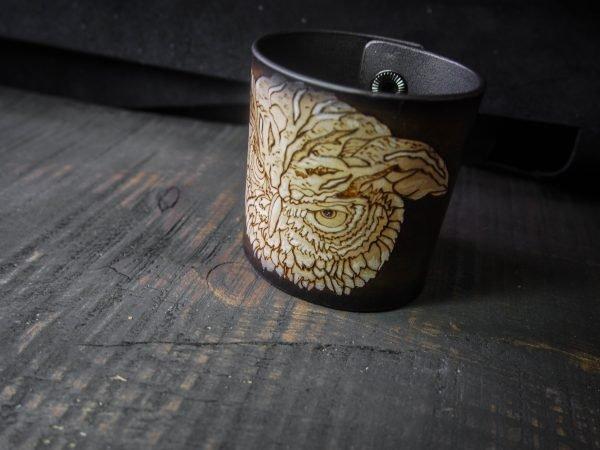 Кожаный браслет Сова 1
