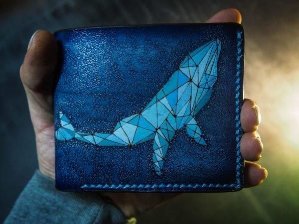 Кожаный кошелек Синий кит