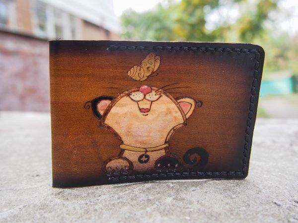 Кожаная обложка на id паспорт Котик