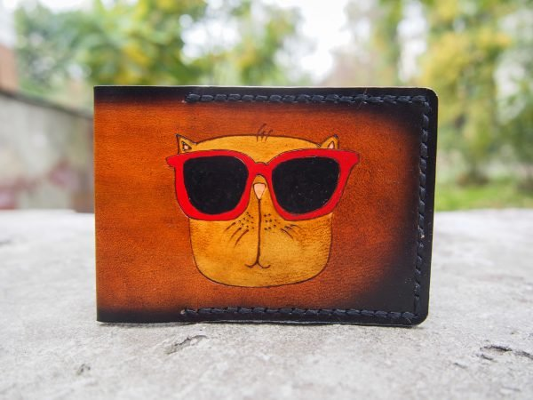 Кожаная обложка на id паспорт Смешной кот