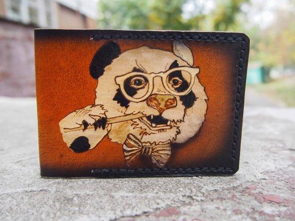 Кожаная обложка на id паспорт Панда