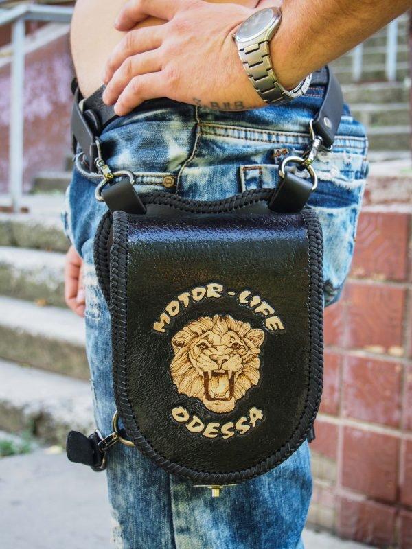 кожаная набедренная сумка с логотипом 1
