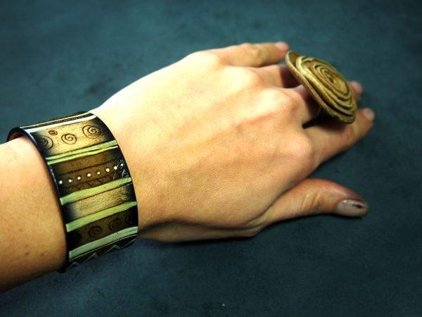 Кожаный браслет Орнамент 2