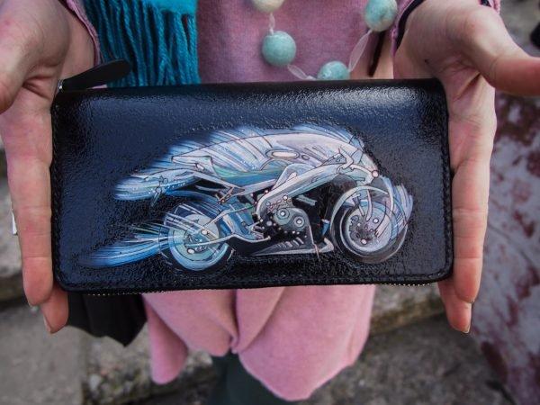 мужской кошелек клатч, кошелек на двойной змейке, кошелек с мотоциклом фото 7