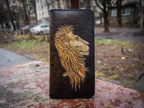 мужской кошелек, кожаный кошелек лев, кошелек с тиснением фото 1