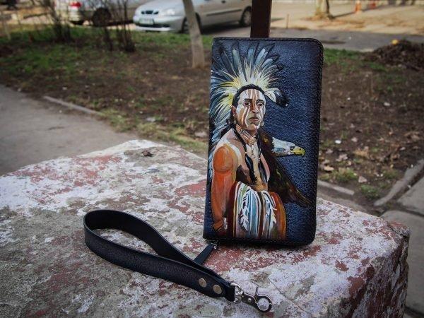 мужской кошелек клатч с индейцем изображение 1