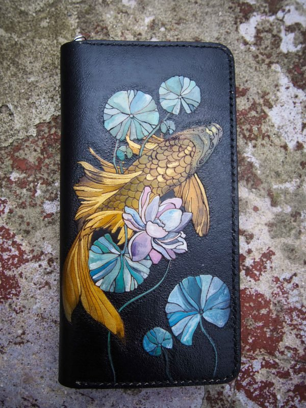 женский кожаный кошелек на молнии с рыбкой фото 1