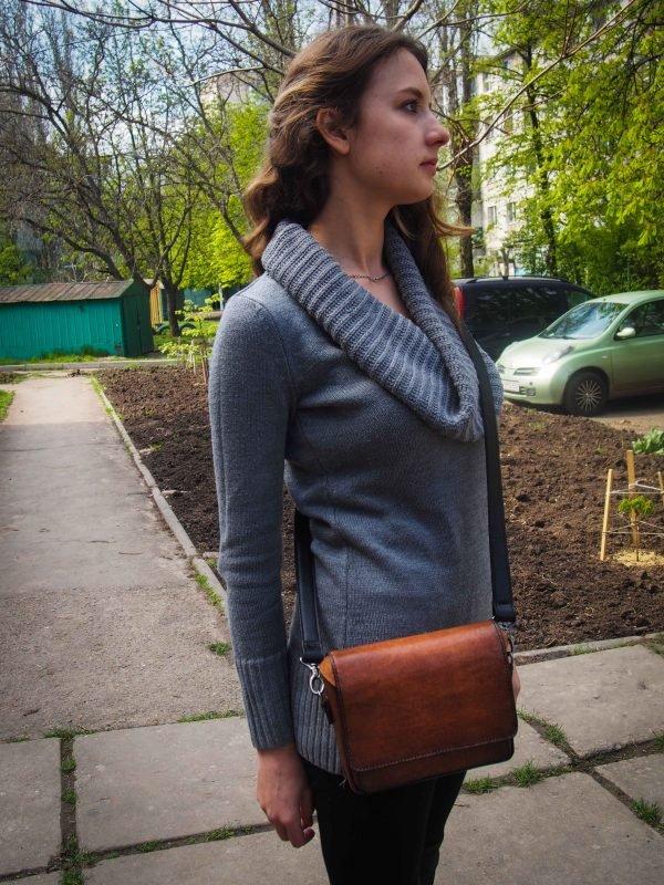 кожаная женская сумка через плечо фото 8