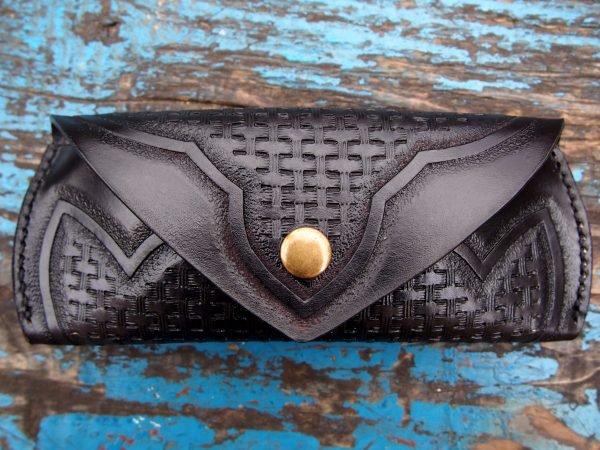 кожаный футляр для очков черный фото 2
