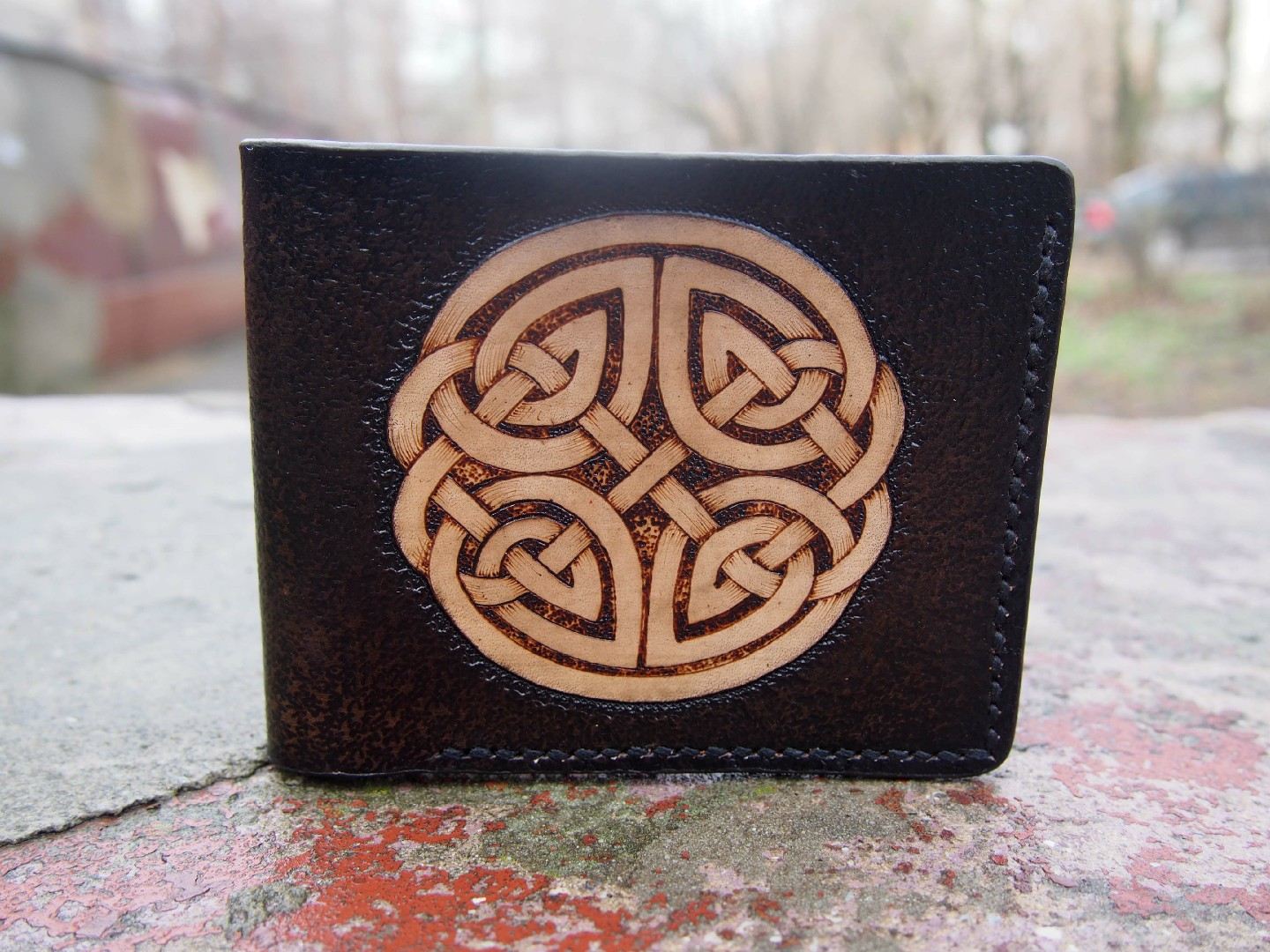 Long red wallet with engraving   Celtic ornament