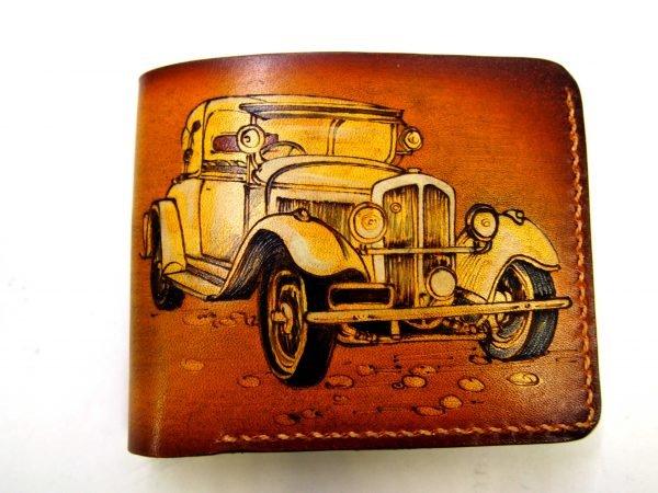 кожаный кошелек ретро авто фото