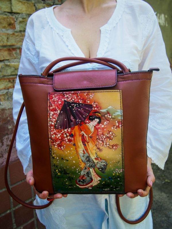 Кожаная сумка-рюкзак Сакура фото