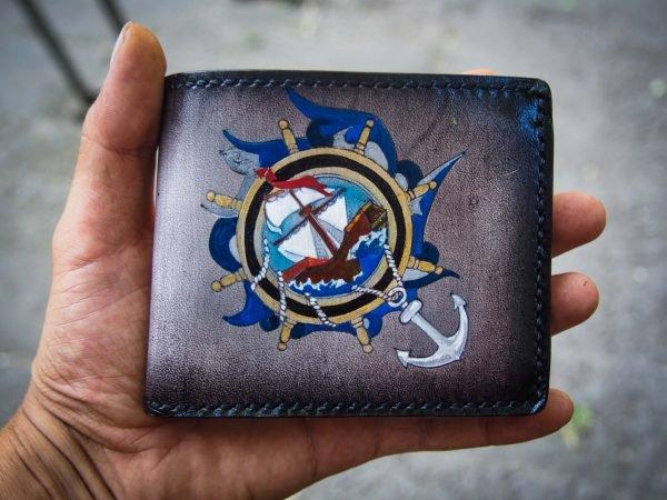кожаный морской кошелек корабль фото