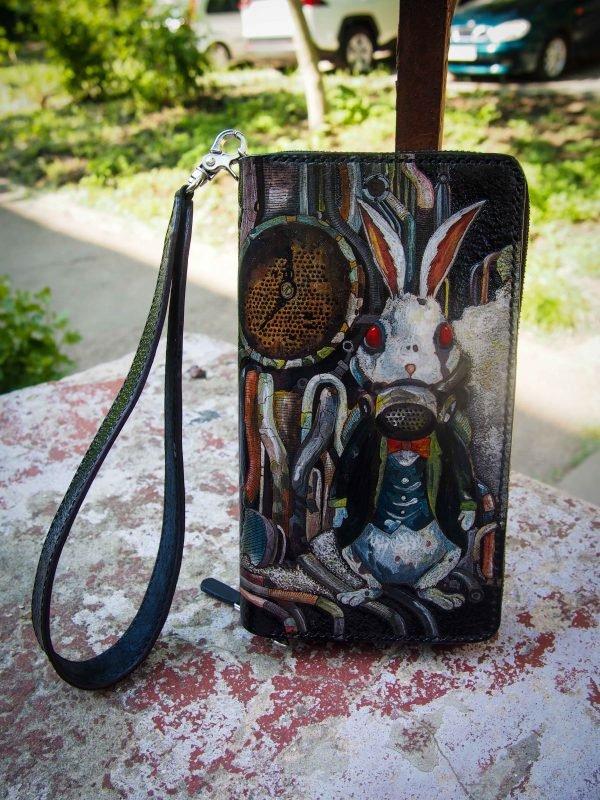 кожаный кошелек на молнии стимпанк фото 6