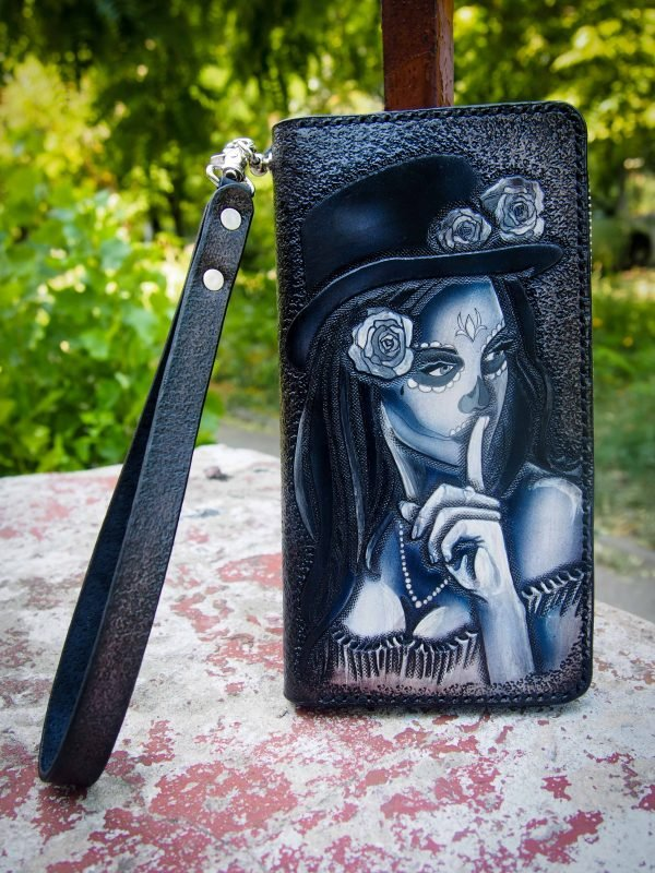 женский кошелек на змейке Santa de Muerte 2