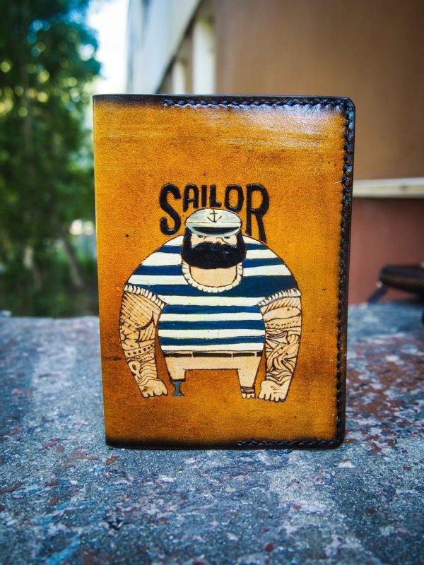 кожаная обложка на паспорт моряк фото 3