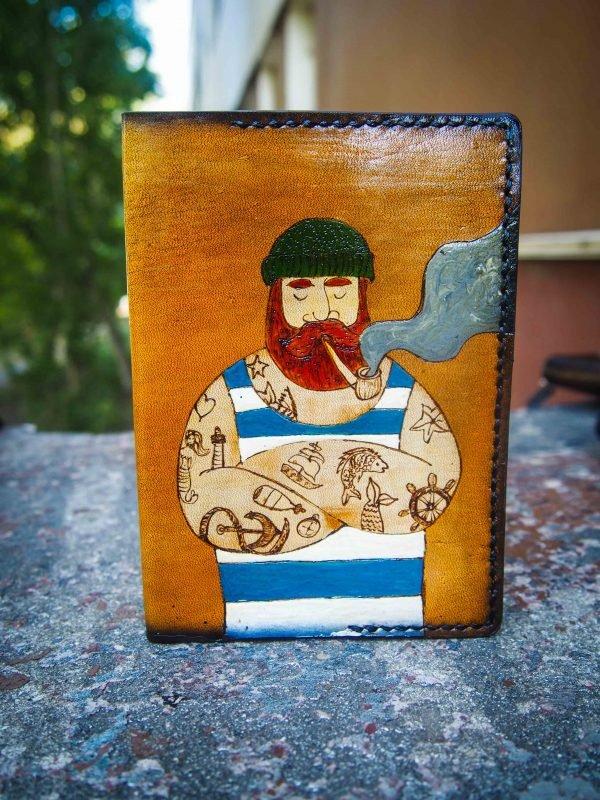 кожаная обложка на паспорт моряк фото 4