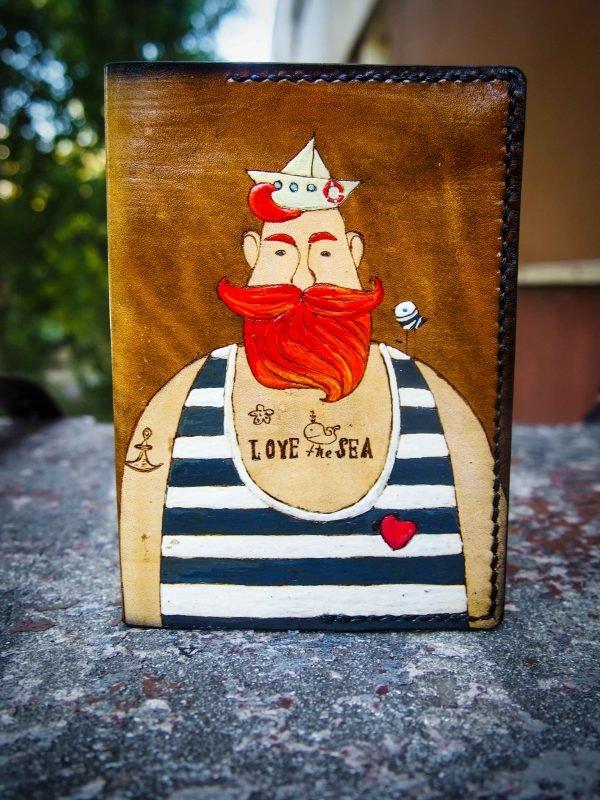 кожаная обложка на паспорт моряк фото 2