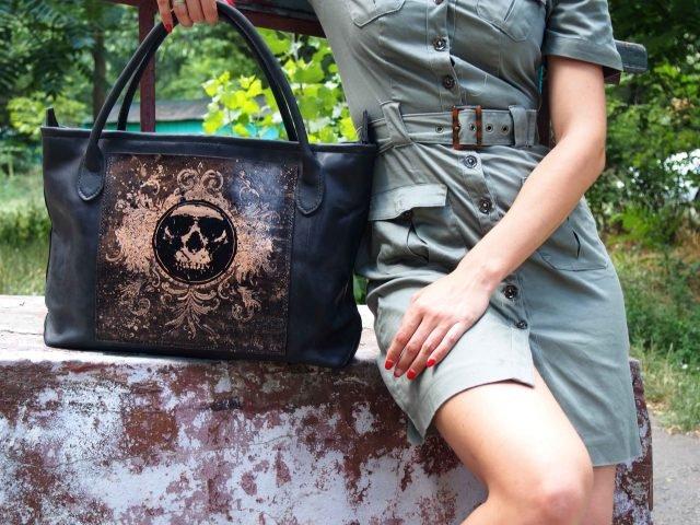 женская кожаная сумка шоппер фото