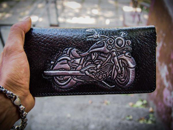 кожаный кошелек на молнии мотоцикл изображение 3