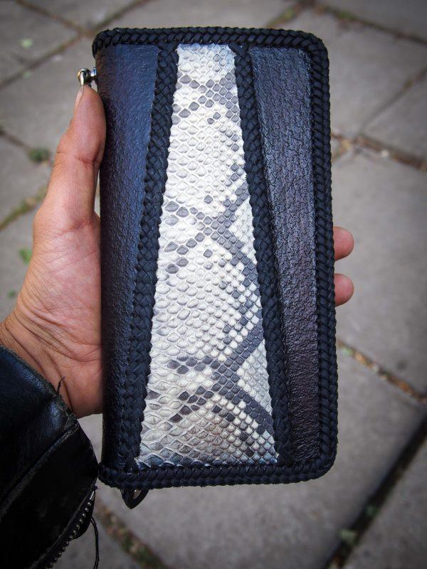кожаный кошелек на молнии с питоном фото 7