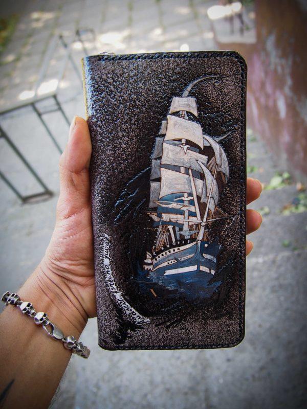 кожаный кошелек корабль фото 10