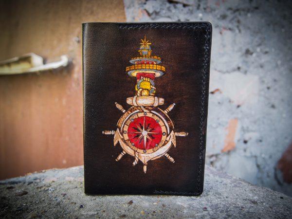 кожаная обложка на паспорт моряку фото