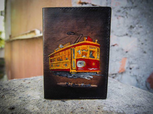 кожаная обложка на паспорт трамвай фото