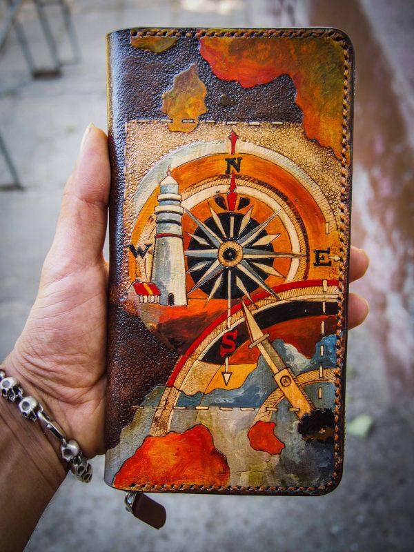 кожаный кошелек на молнии маяк и компас фото 10