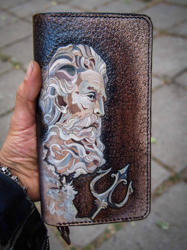 кожаный кошелек на молнии посейдон фото 14