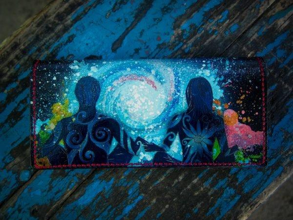 женский кожаный кошелек с эксклюзивным рисунком фото 1