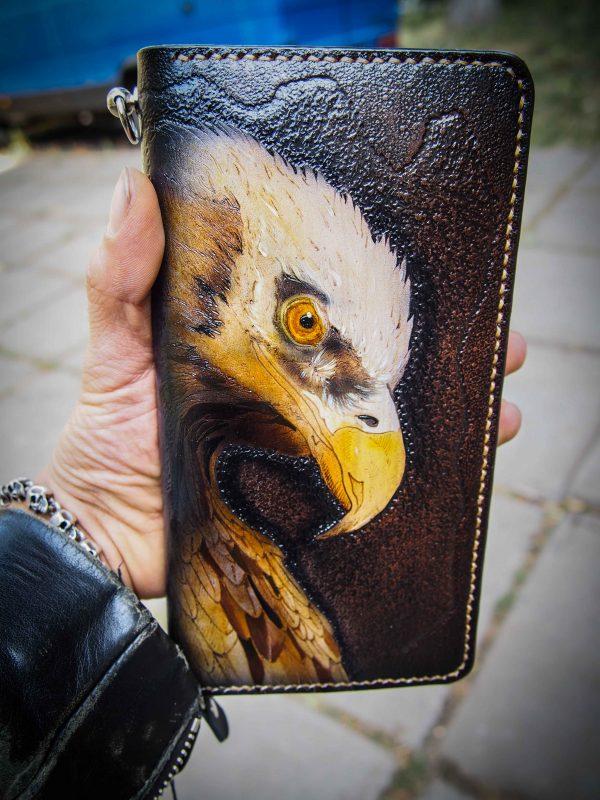 кожаный кошелек на молнии орел фото
