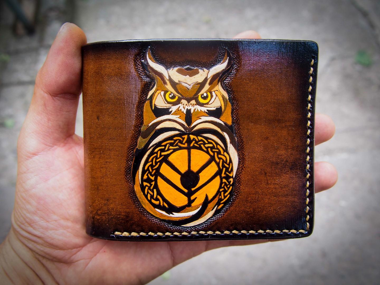 кожаный кошелек с совой фото 8