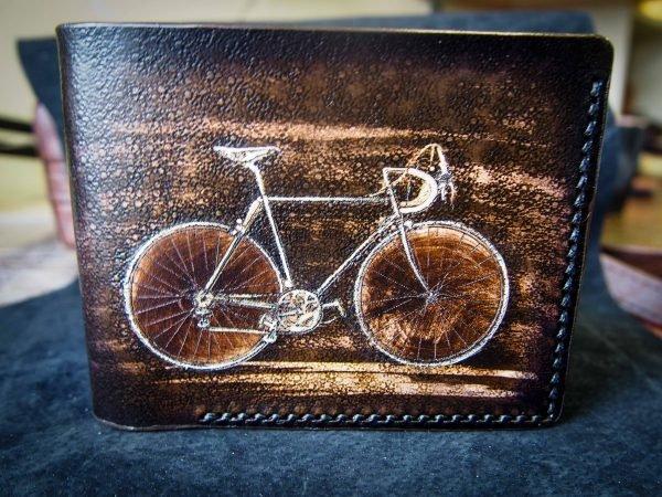кожаный кошелек с велосипедом фото 3
