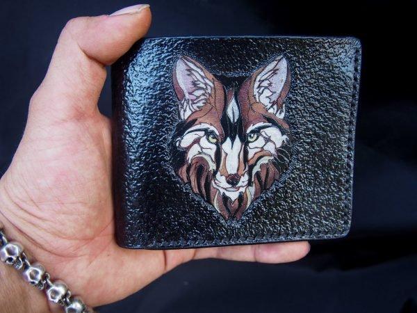 кожаный кошелек волк фото