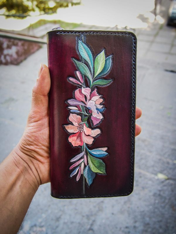 женский кожаный кошелек на молнии цветы фото 13