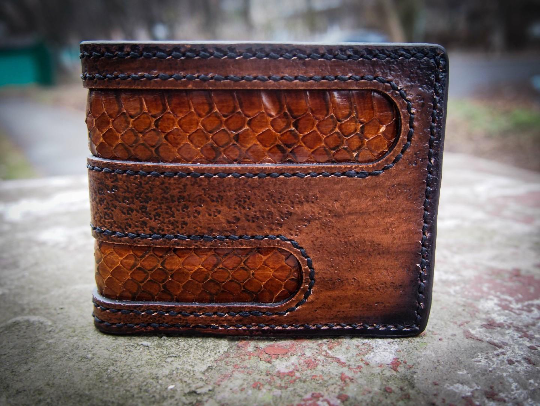 кожаный кошелек из кожи змеи коричневый фото 1