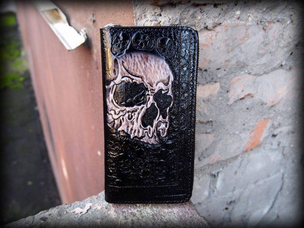 кожаный байкерский кошелек на молнии с черепом фото 1