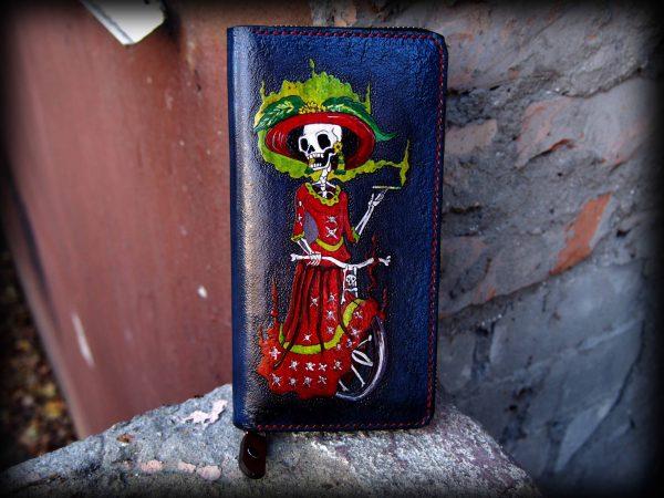 кожаный синий кошелек на молнии со скелетом фото 1